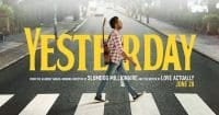 Yesterday movie poster with Himesh Patel walking across Abbey Road