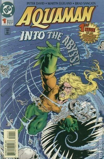 In Aquaman #1's cover, Arthur Currey swirls into the abyss. This begins Peter David's legendary run.