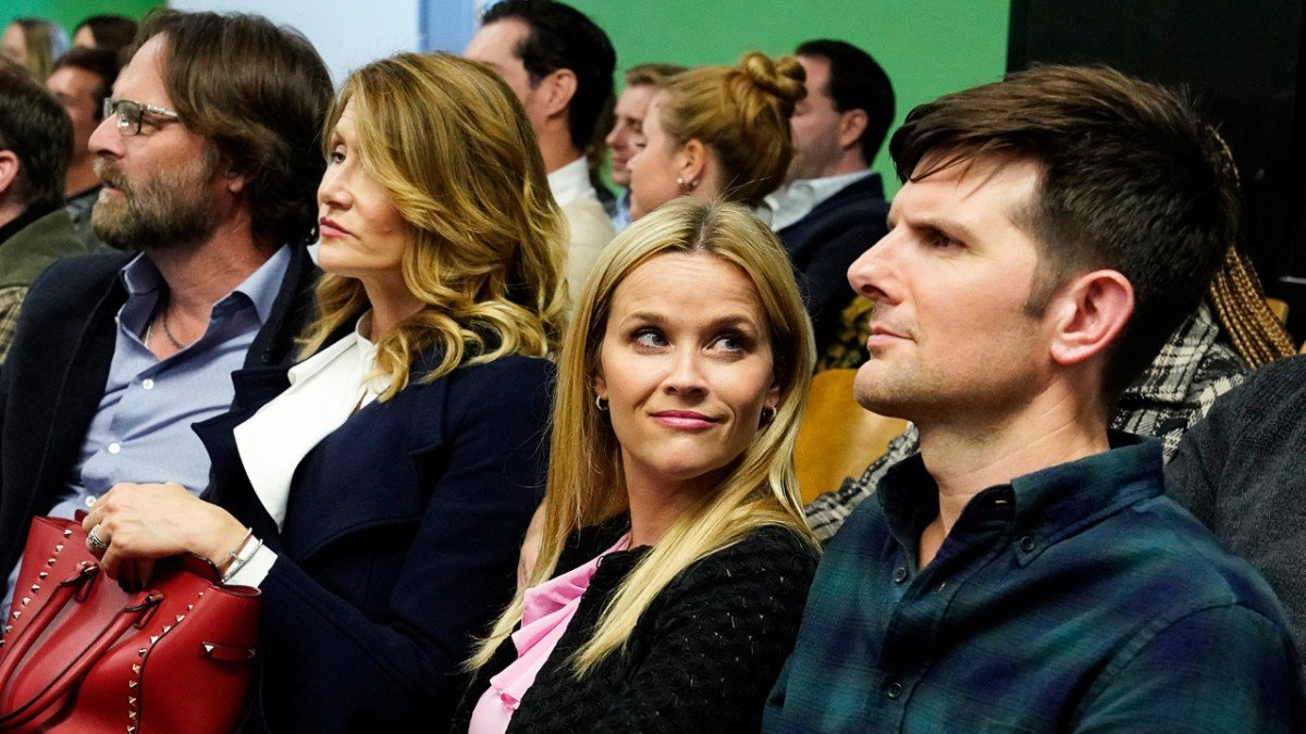 Jeffrey Nordling, Laura Dern, Reese Witherspoon, and Adam Scott as Gordon, Renata, Madeline, and Ed in the season two premiere of Big Little Lies