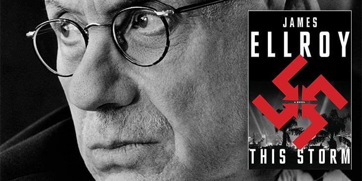 James Ellroy looks on next to an image of the cover of his recent book, This Storm