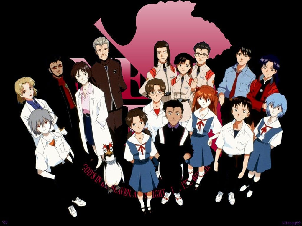 the cast of Neon Genesis Evangelion in a group picture.