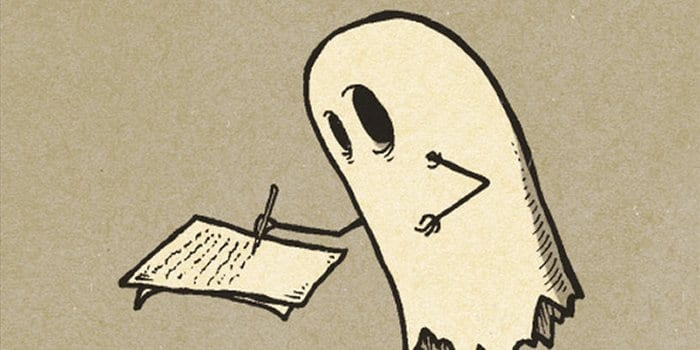 A cartoon ghost writing a letter
