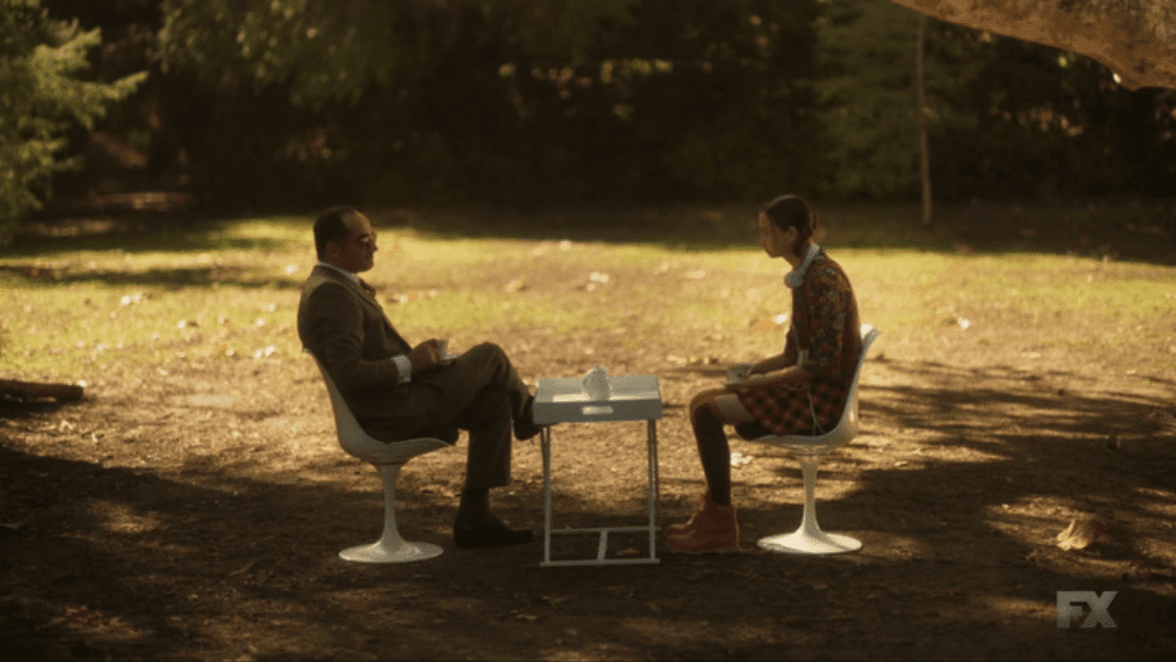Switch and Farouk have tea in the premiere of Season 3 of Legion on FX