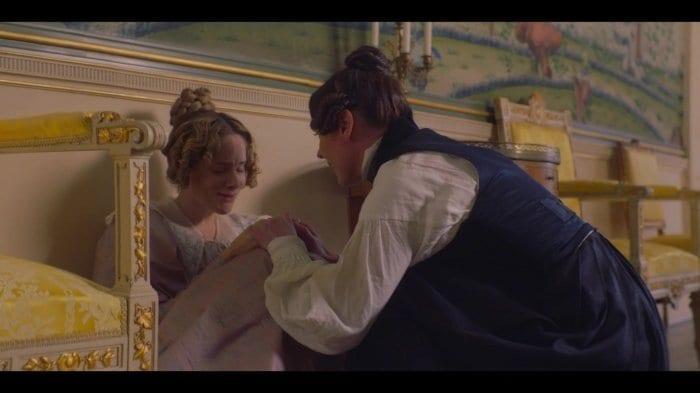 Anne Lister (Suranne Jones) comforts an upset Ann Walker (Sophie Rundle) in HBO's Gentleman Jack.
