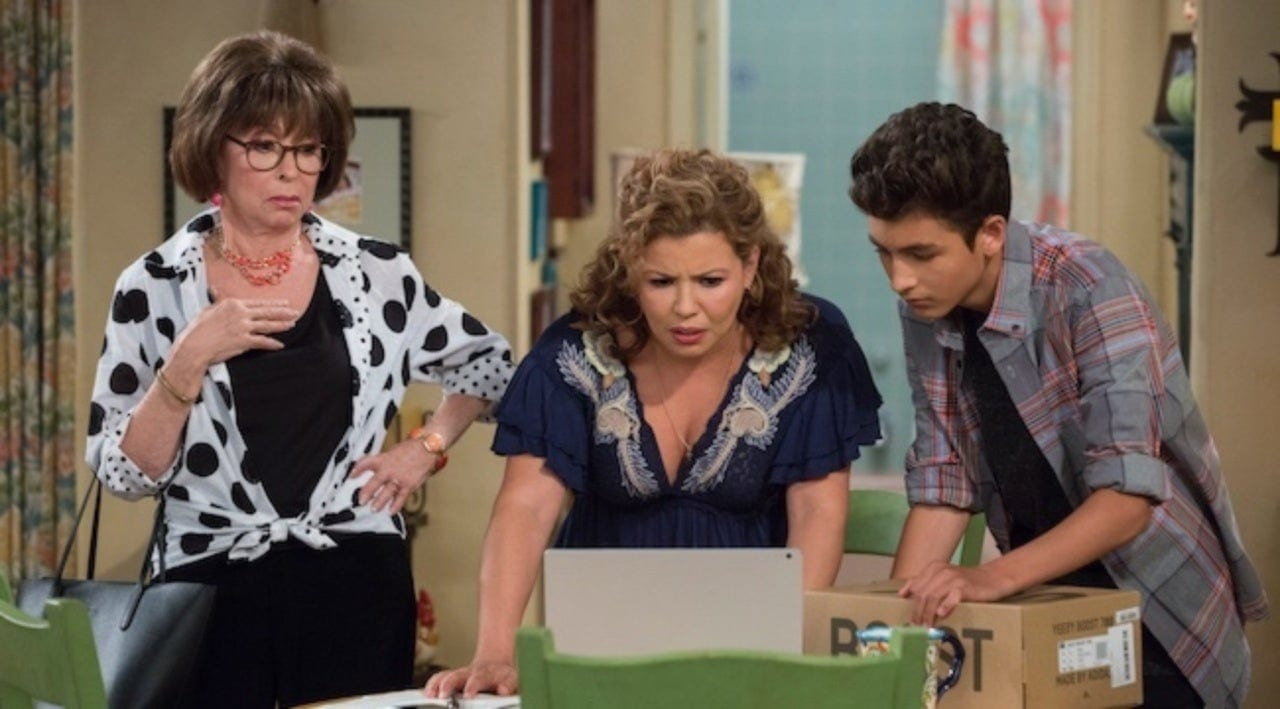 Lydia, Penelope, and Alex, are concerned by something on someone's laptop