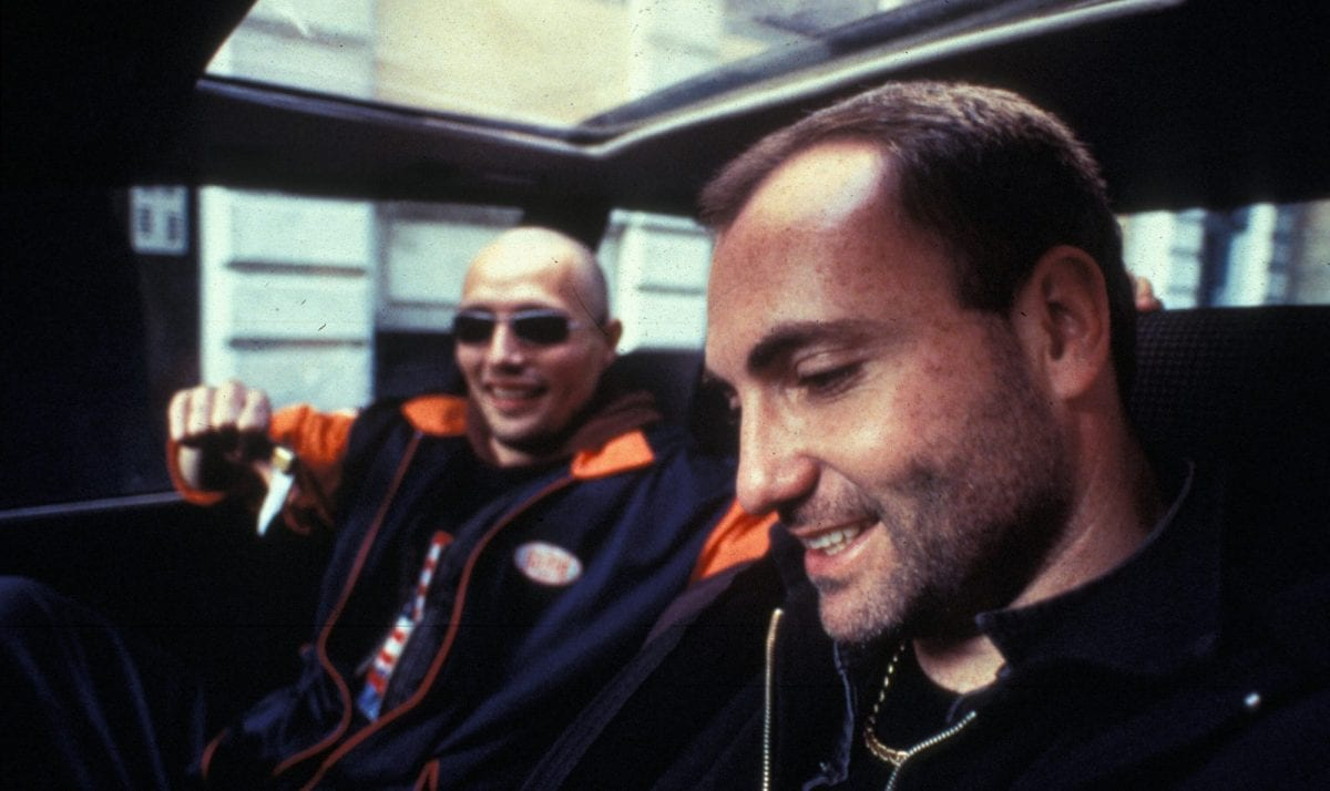 Frank (Kim Bodnia) and Tonny (Mads Mikkelsen) star as Copenhagen drug dealers in Pusher (1996).
