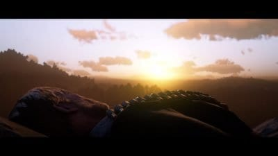 My character watches the sun setting in Red Dead Redemption II