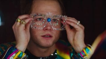 Taron Egerton as Elton John in the film Rocketman