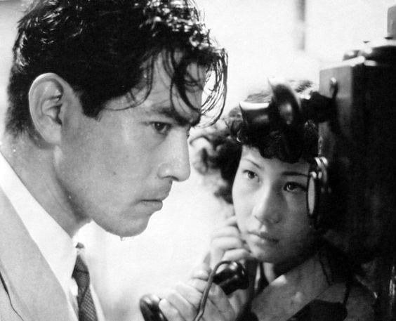The weight of guilt on Murakami (Toshiro Mifune) is represented by the pounding rain in Akira Kurosawa's Stray Dog