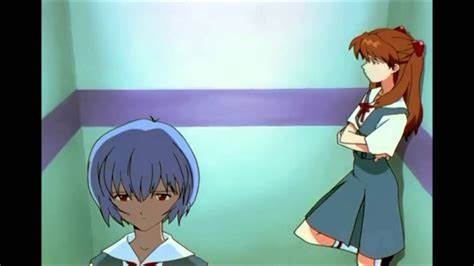 Asuka and Rei leave a training mission in one of the interminably long scenes involving one cell of animatin in Neon Genesis Evangelion.