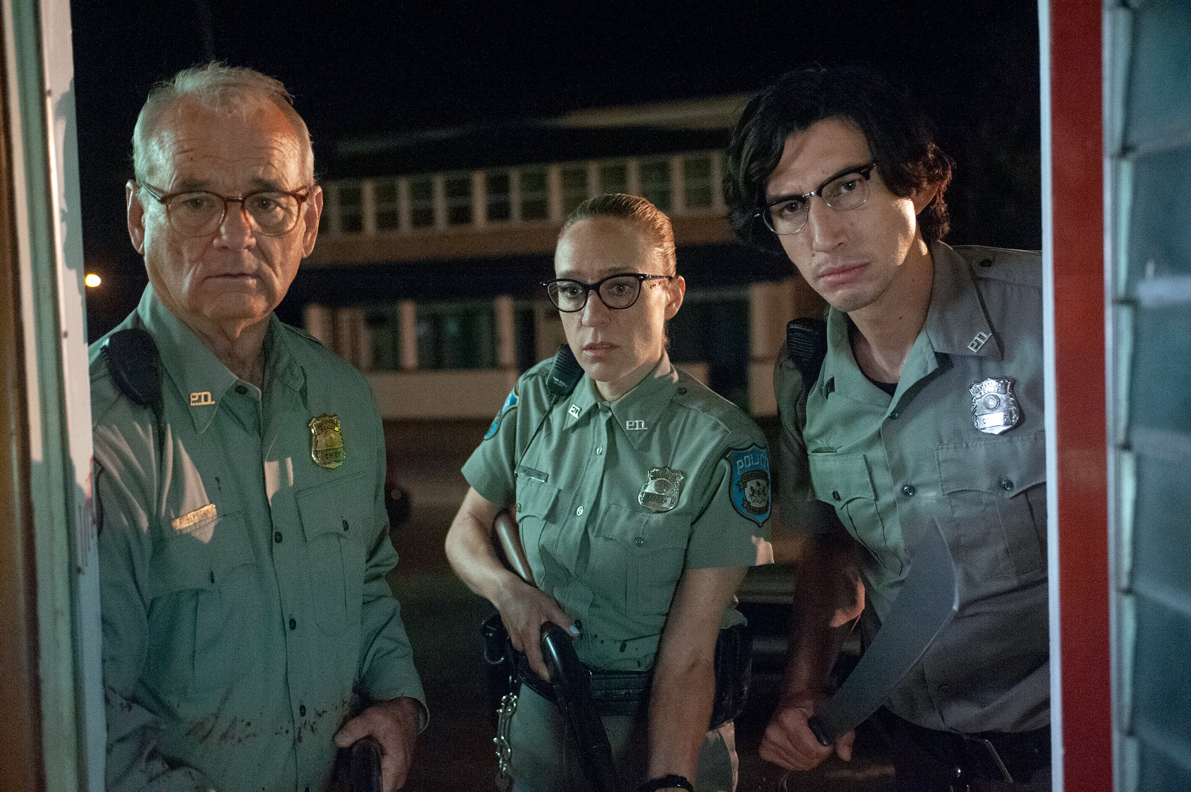 """(L to R) Bill Murray as """"Officer Cliff Robertson"""", Chloë Sevigny as """"Officer Minerva Morrison"""" and Adam Driver as """"Officer Ronald Peterson"""" in writer/director Jim Jarmusch's THE DEAD DON'T DIE"""
