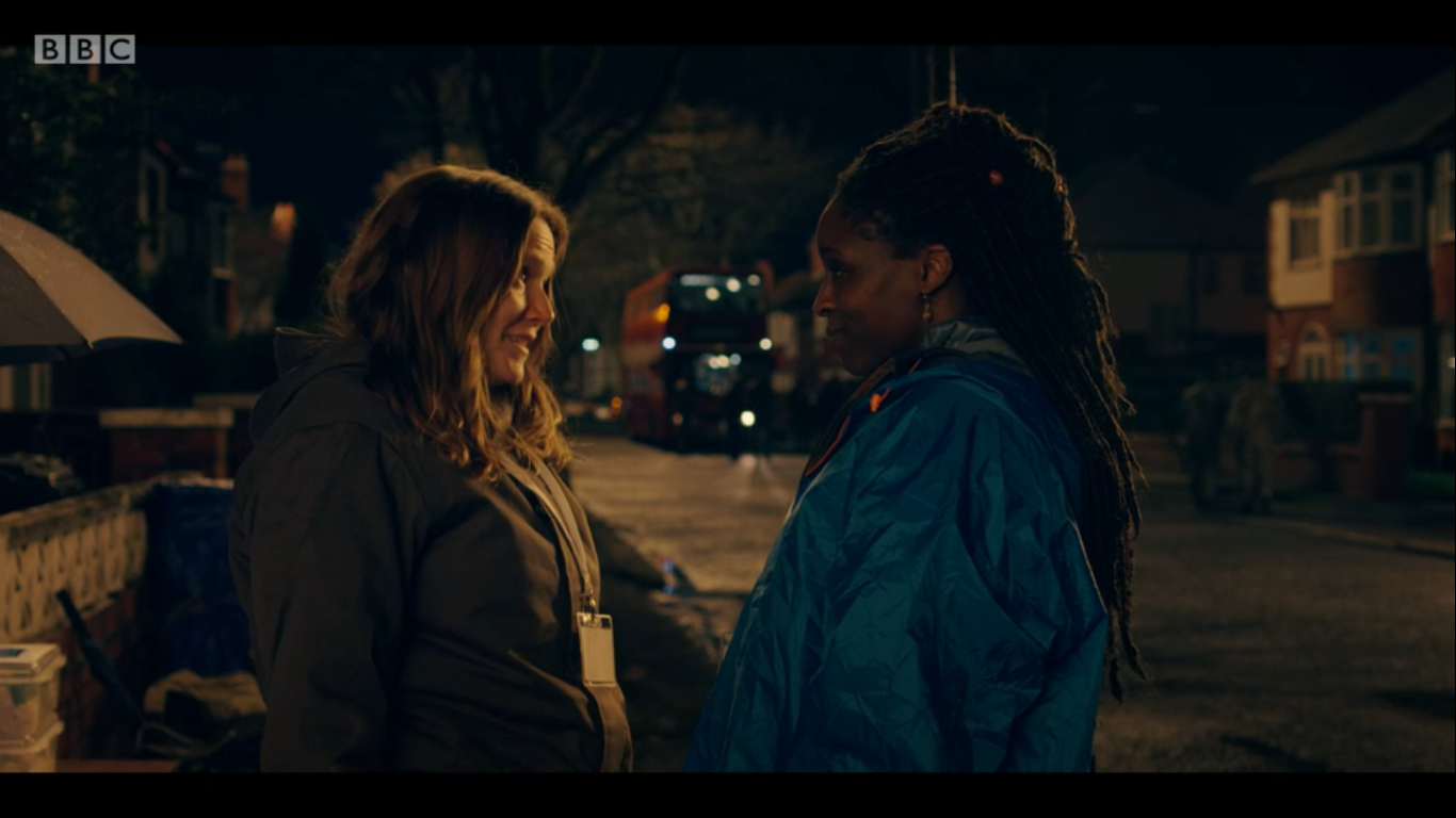 Jessica Hynes and Sharon-Duncan Brewster as Edith and Fran in the HBO and BBC show Years and Years