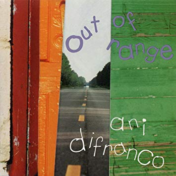 Ani Difranco Out of Range Album Cover has a photo colage of doors with a street in the middle.