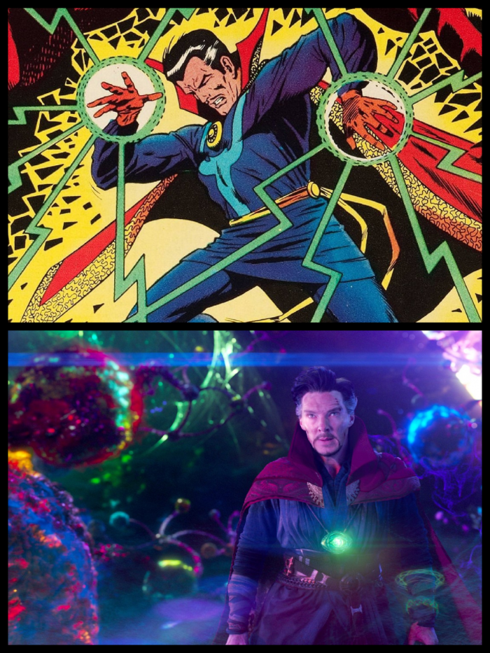 Panel comparing Steve Ditko's Dr Strange and Scott Derrickson's film version