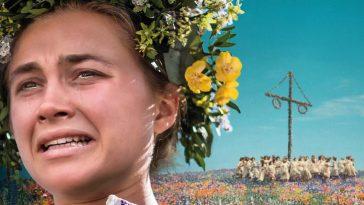 Florence Pugh wearing a flower wreath in Midsommar