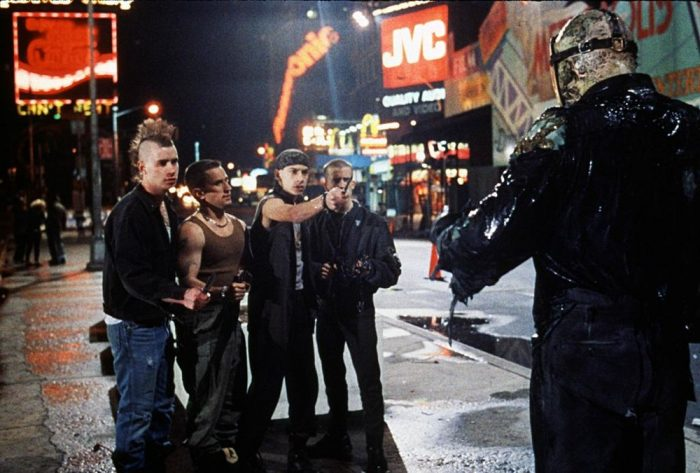 Jason Voorhees (Kane Hodder) scares off some gang members in Friday the 13th Part VIII: Jason Takes Manhattan.
