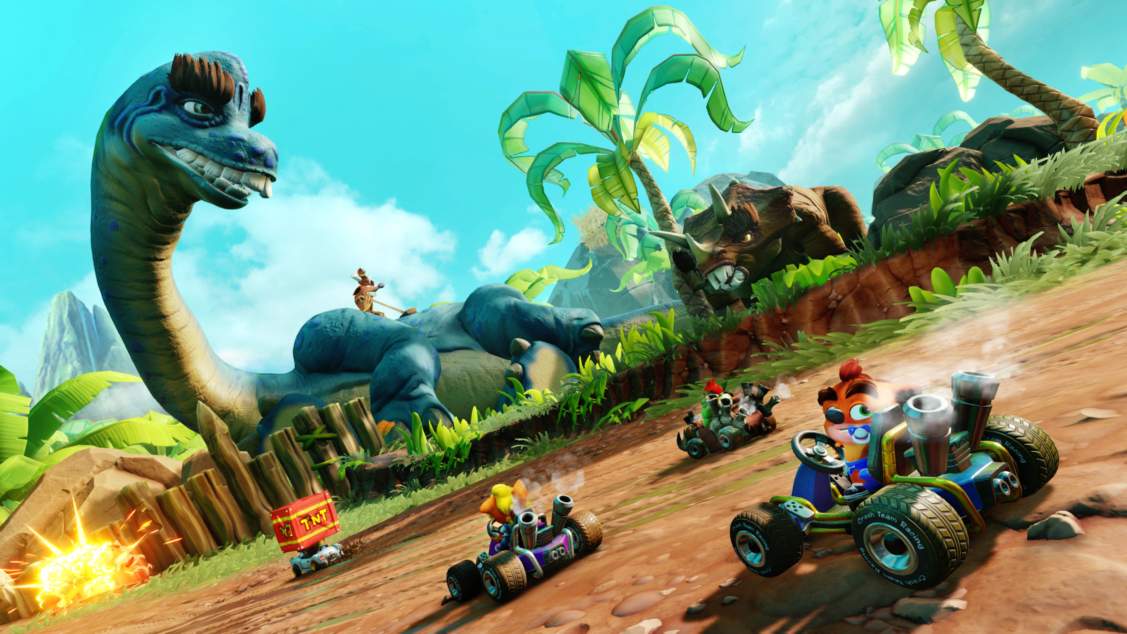A dinosaur on the track in Crash Bandicoot