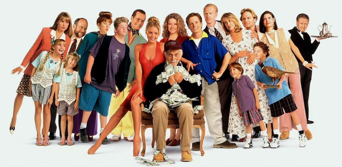 Michael J. Fox, Nancy Travis, Kirk Douglas, Phil Hartman and the cast of Greedy (1994)