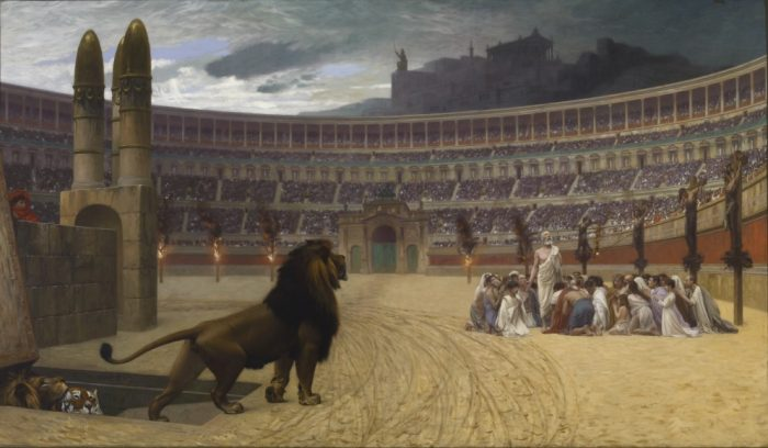 Jean-Leon Gerome's painting depicting ancient Christians praying in a Roman arena as a lion approaches them.