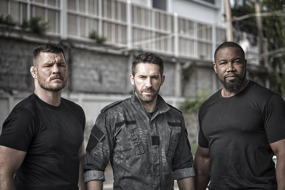 Michael Bisping, Scott Adkins, and Michael Jai White in Triple Threat