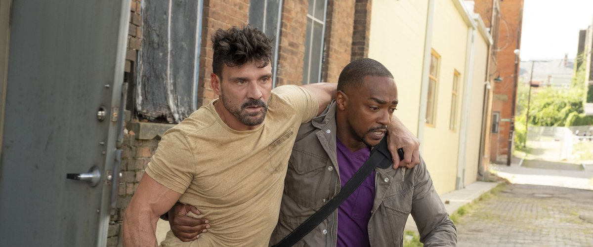 Frank Grillo and Anthony Mackie in a race against time in Point Blank.