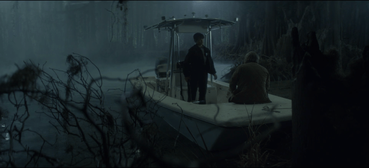 Sheriff Cable (Jennifer Beals) and Avery Sunderland (Will Patton) travel into the swamps to finish off Alec Holland in this week's Swamp Thing.