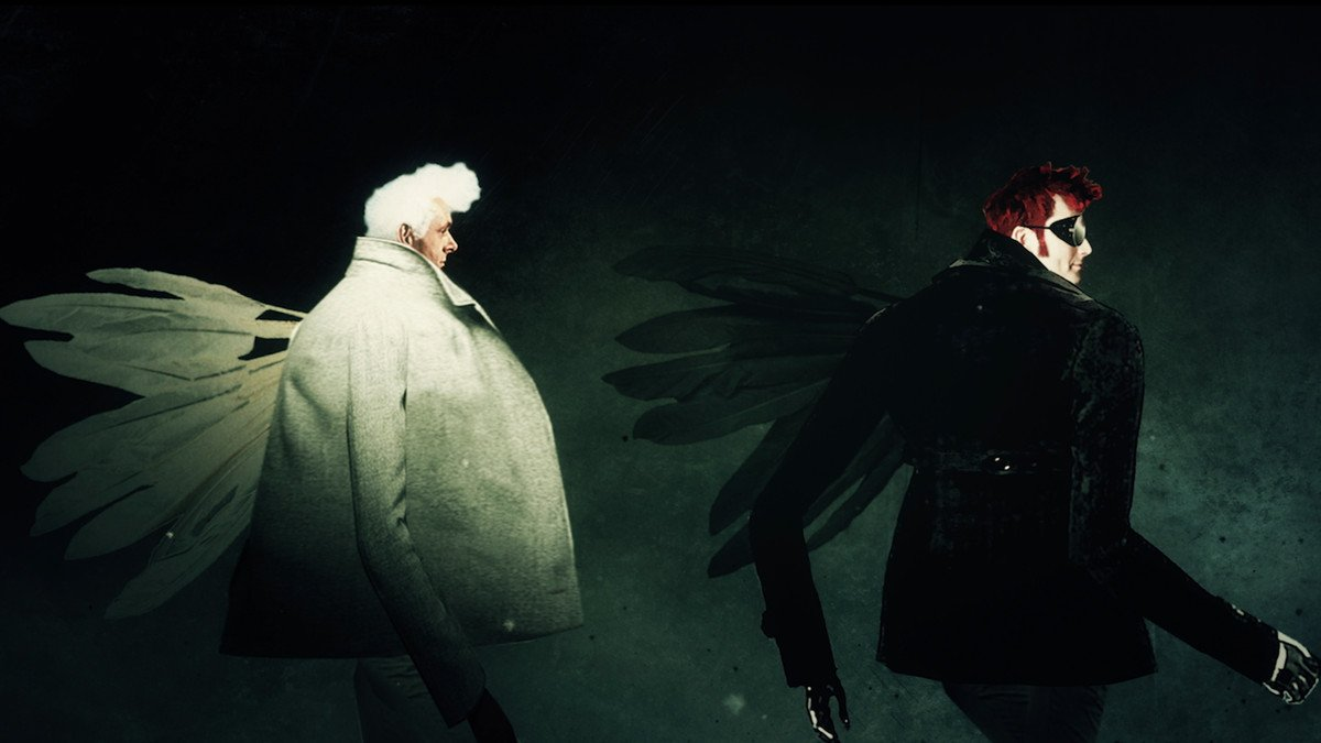 Opening credits for Good Omens of Azirphale and Crowley