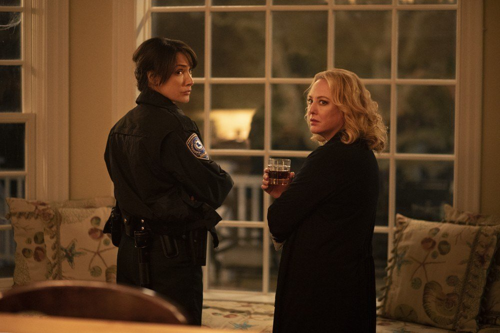 Sheriff Lucille Cable (Jennifer Beals) and Maria Sunderland (Virginia Madsen) come together to deal with a shared problem in this week's episode of Swamp Thing.