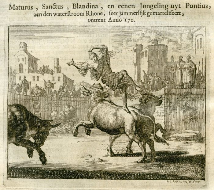 The martyr Blandina is tossed by a bull in the arena