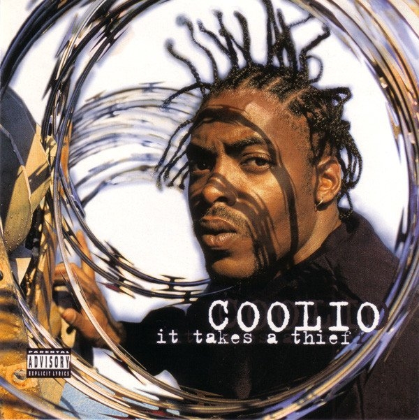 Coolio It Takes a Thief album cover has the rapper front and center, including his straight up and down braids.