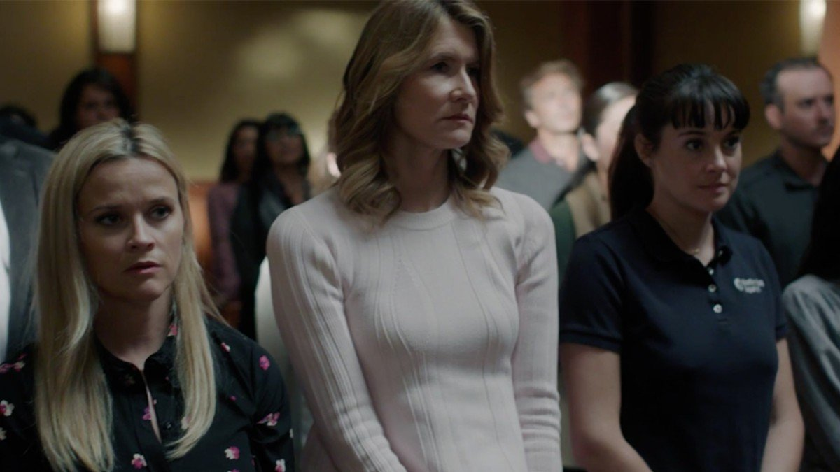 Reese Witherspoon, Laura Dern, and Shailene Woodley as Madeline, Renata, and Jane in season two of Big Little Lies