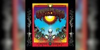 psychedelic and colourful cover of grateful dead album aoxomoxoa showing a sun and a skeleton