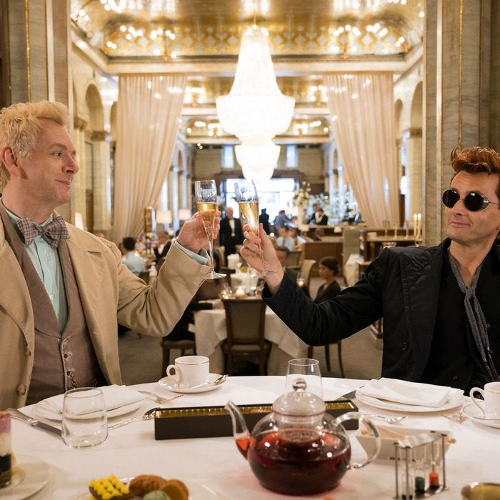 Michael Sheen and David Tennant as Aziraphale and Crowley in Good Omens