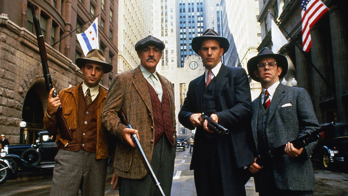 """From left to right, Andy Garcia, Sean Connery, Kevin Costner, and Charles Martin Smith comprise """"The Untouchables"""" from director Brian De Palma."""