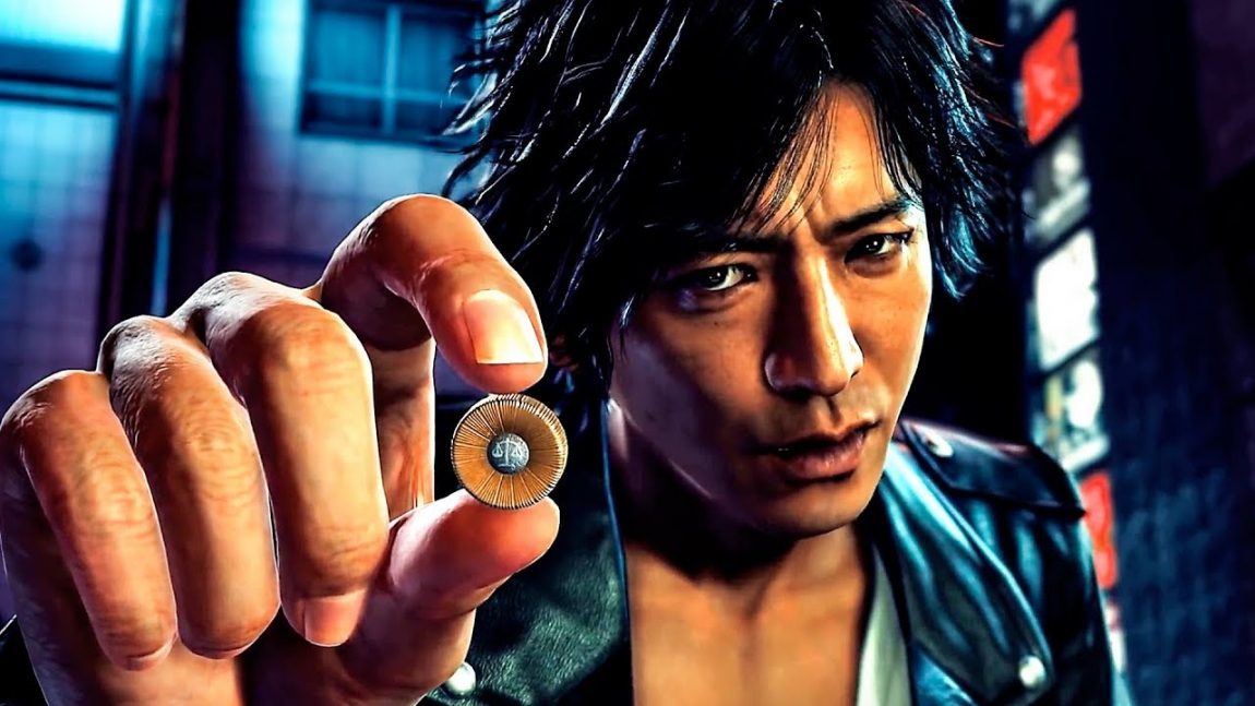 Takayuki Yagami from Judgement holds a bullet