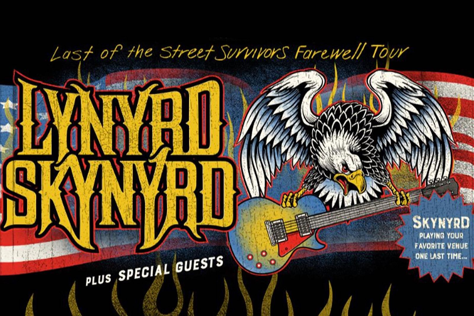 An eagle holds a guitar on a Lynyrd Skynyrd tour poster