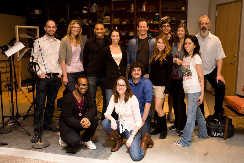 The Cast of We're Alive Season 1 in the recording studio for a posed picture
