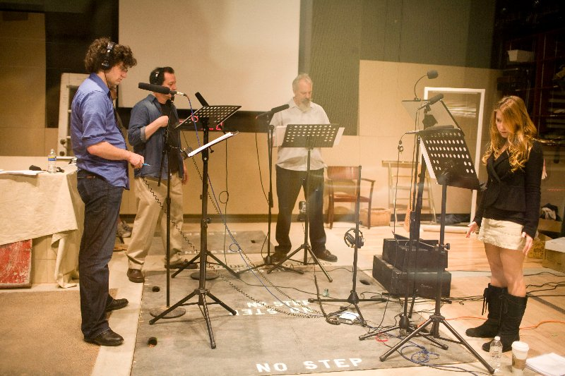 The Cast of We're Alive recording Season 1 in the studio
