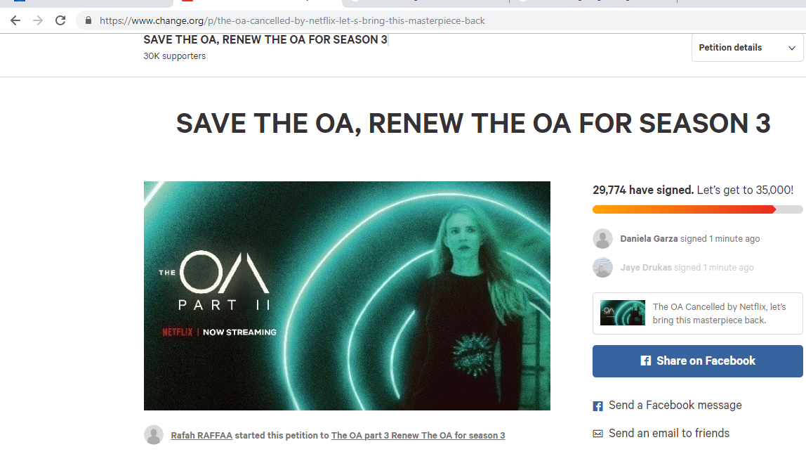 The petition to save The OA