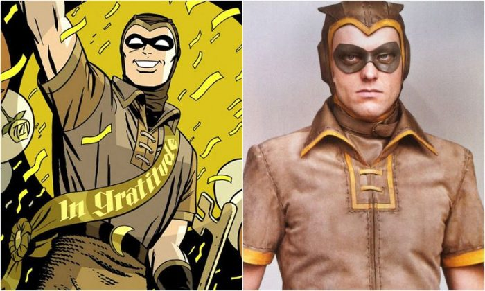 Side-by-side images of the original Nite Owl, Hollis Mason