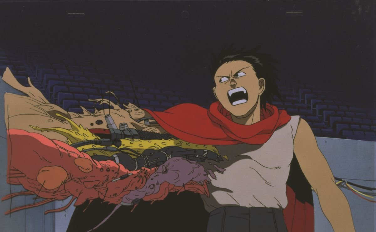 Tetsuo starts to experience horrific mutations due to his out of control powers in Akira.