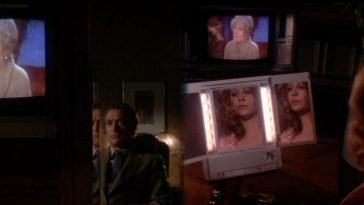 This split screen shot from Dressed to Kill is one of de Palma's best, showing the split screen, diopter, mirror and video layers he's known for.