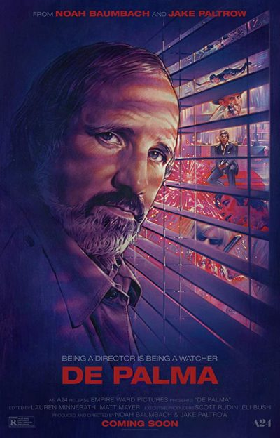 The cover of 2015's De Palma documentary shows the director in natural cinematic habitat, playing peeping tom outside a blinded window
