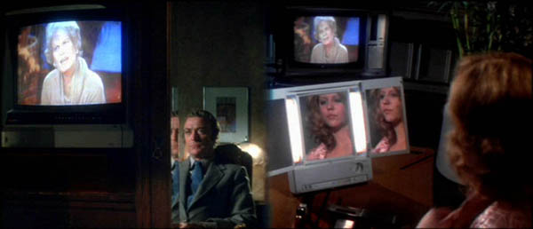 Split screen image of a man on the left and a blonde woman on the right watching a story about a transsexual on TV.