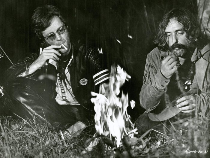 Fonda and Hopper smoking marijuana by a fire