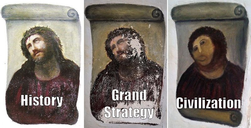 Three Panel Meme Showing History versus Game Design - The Ecce Homo Picture Before and After Restoration