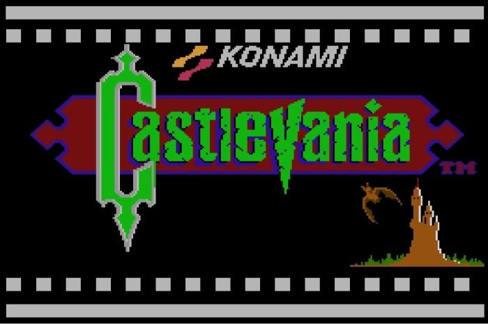 The Castlevania Title Screen shows a bat flying out of Dracula's castle and hovering over near the game title.