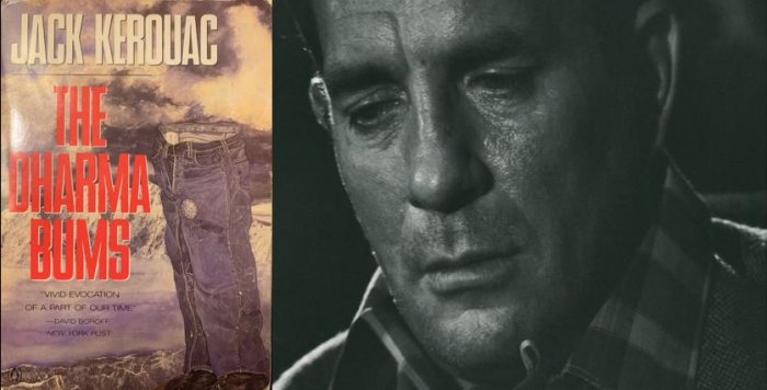 Cover Dharma Bums 1986 Penguin Edition and Jack Kerouac, 1966, Milan