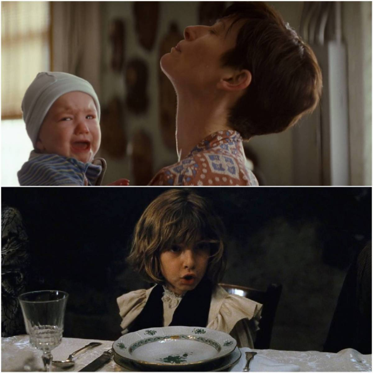 Eva (Tilda Swinton) feels the frustrations of mothering baby Kevin while Prescott (Tom Sweet) causes a tantrum during the climax of Childhood of a Leader