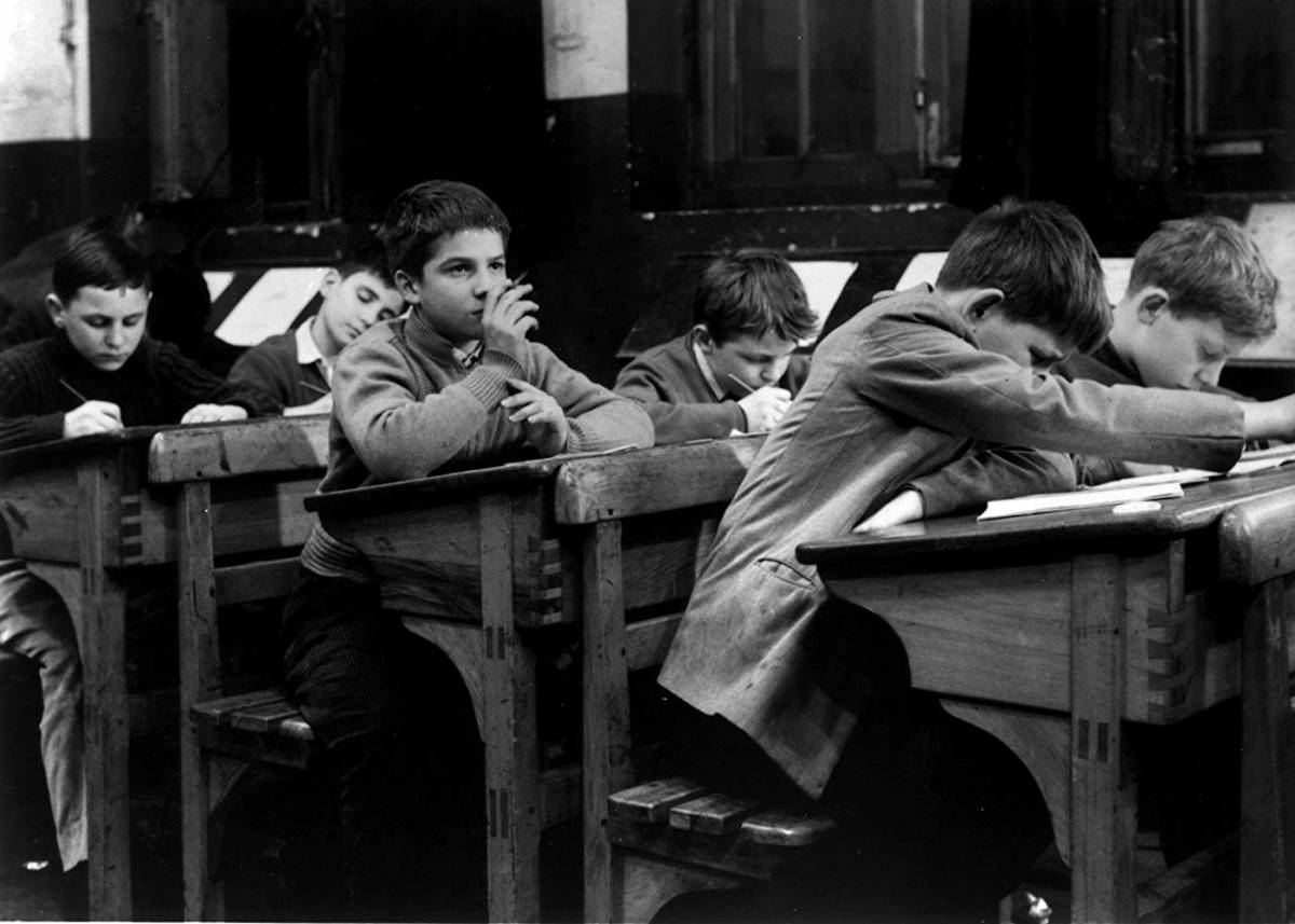 Jean-Pierre Léaud sits in class in The 400 Blows (1959)